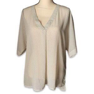 H&M ivory black dot oversize flowing v-neck blouse